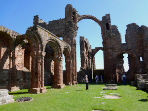 Lindisfarne Abbey first destroyed by the Viking invasion.