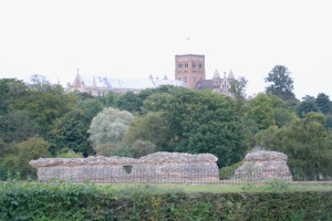 In the shadows of the medieval cathedral at St. Albans lies Roman ruins.